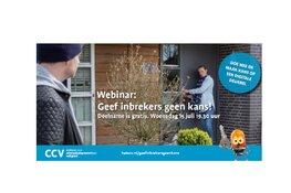 Centrum voor Criminaliteit en Veiligheid geeft gratis webinar voor bewoners: Geef inbrekers geen kans!